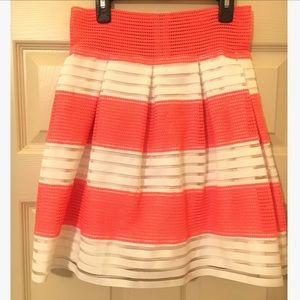 Stunning coral and white striped skirt